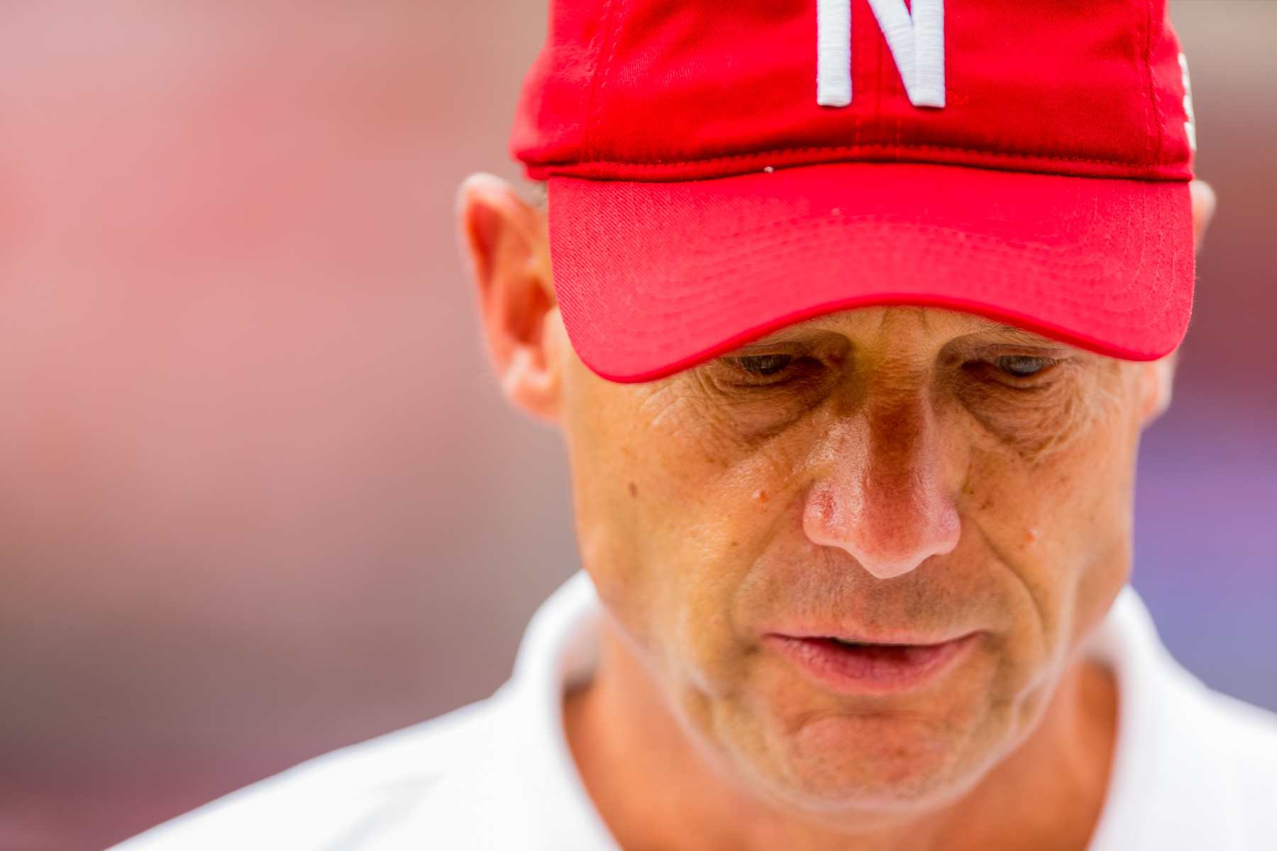 Nebraska head coach Mike Riley paces on the sidelines during Nebraska's 33-28 loss to BYU on Sept. 5, 2015. Photo by Aaron Babcock