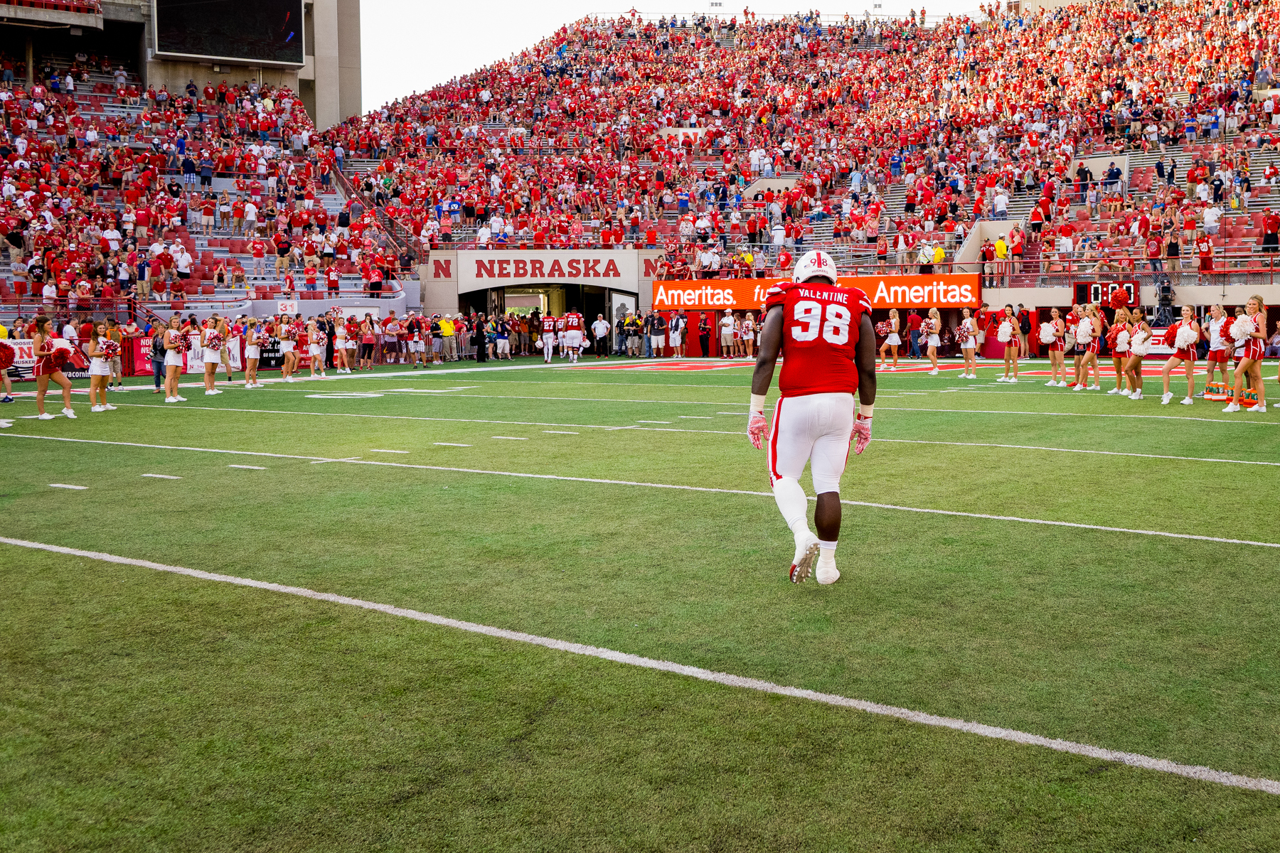 Vincent Valentine #98 of the Nebraska Cornhuskers walks off the field following Nebraska's 33-28 loss to BYU on Sept. 5, 2015. Photo by Aaron Babcock