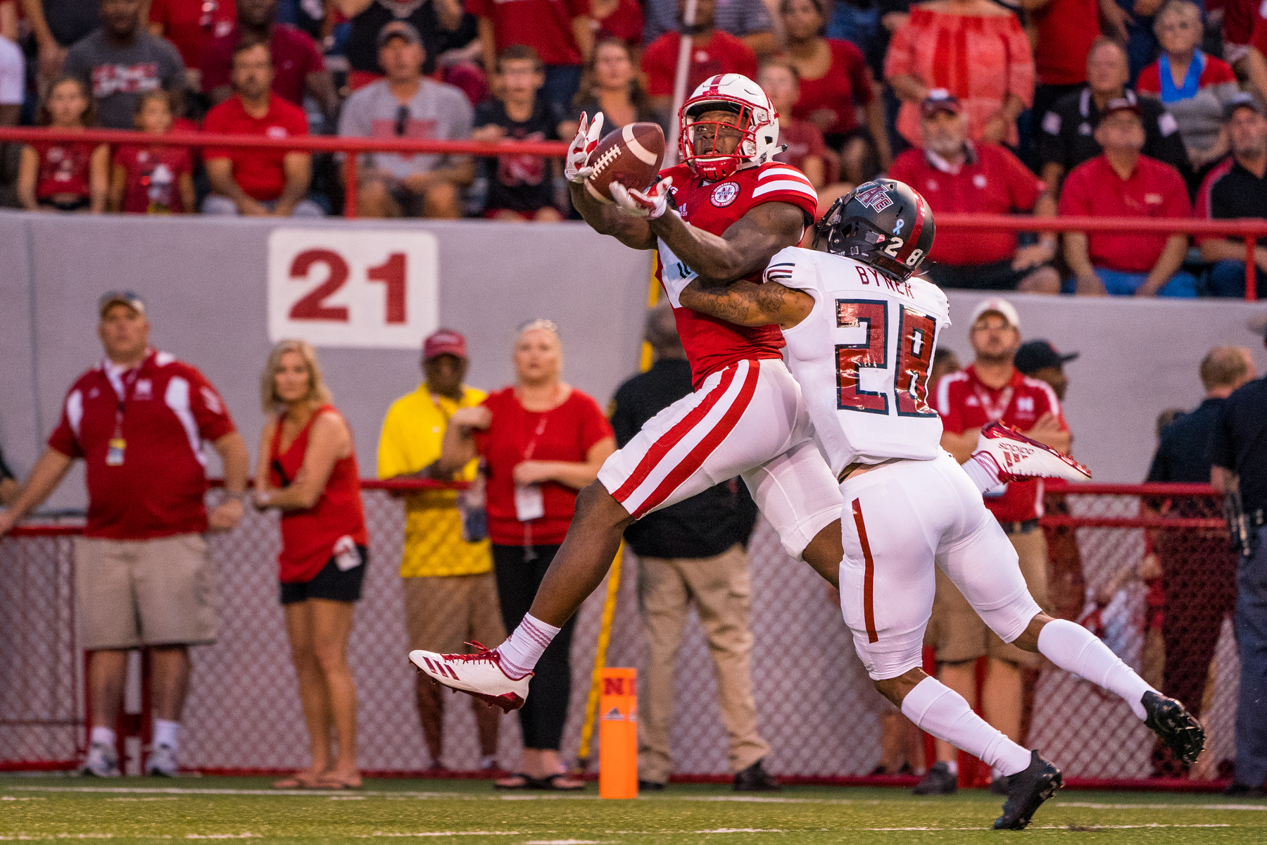Stanley Morgan Jr. #8 of the Nebraska Cornhuskers catches a touchdown pass during Nebraska's game against Arkansas State at Memorial Stadium on Sept. 2, 2017. Photo by Aaron Babcock, Hail Varsity
