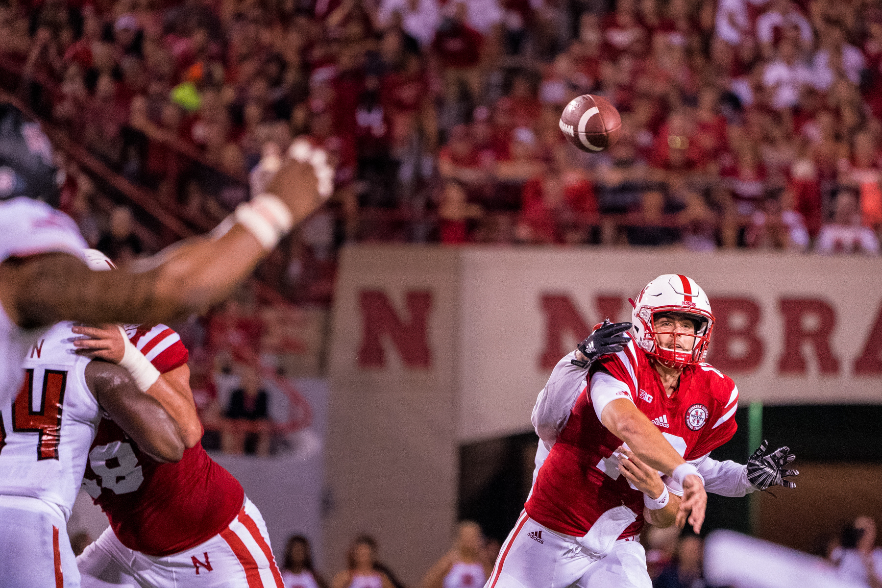 Tanner Lee during Nebraska's game against Arkansas State at Memorial Stadium on Sept. 2, 2017. Photo by Aaron Babcock, Hail Varsity