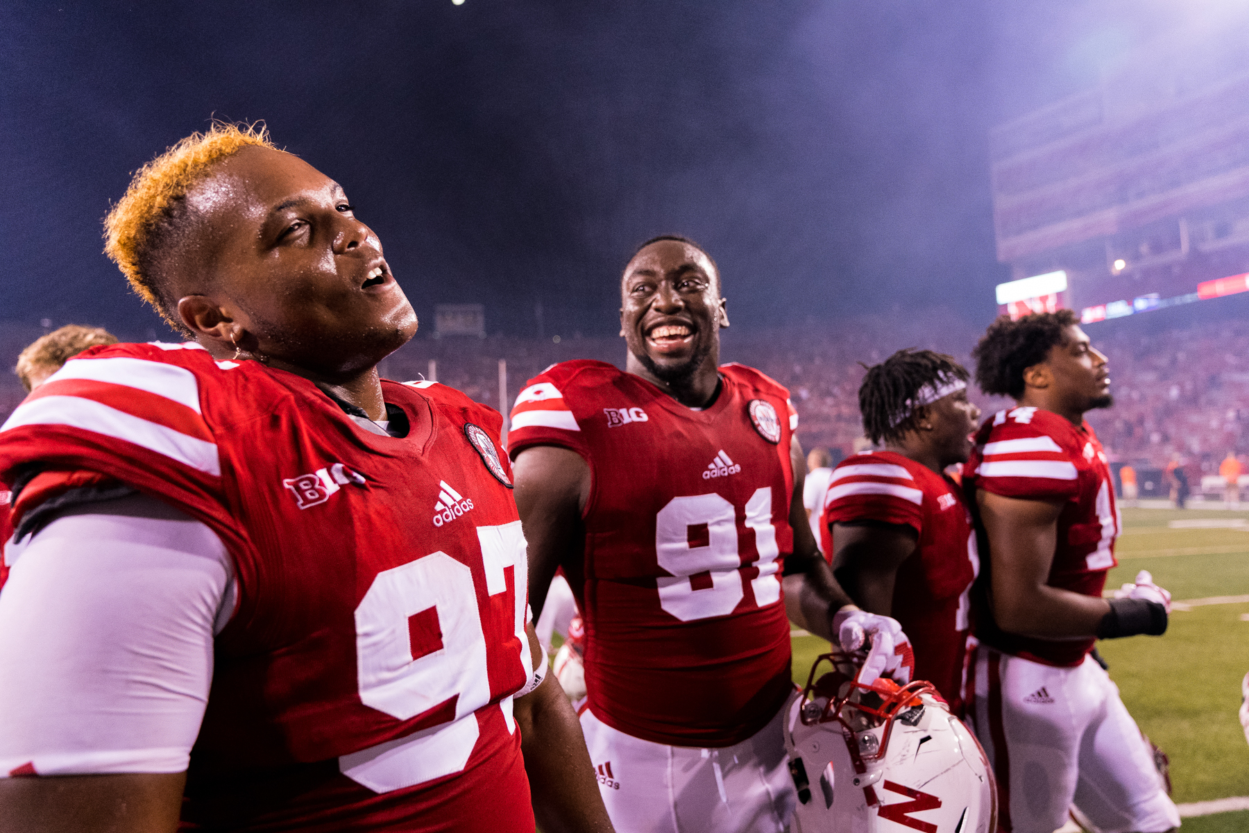 Deontre Thomas, Freedom Akinmoladun #91 of the Nebraska Cornhuskers during Nebraska's game against Arkansas State at Memorial Stadium on Sept. 2, 2017. Photo by Aaron Babcock, Hail Varsity