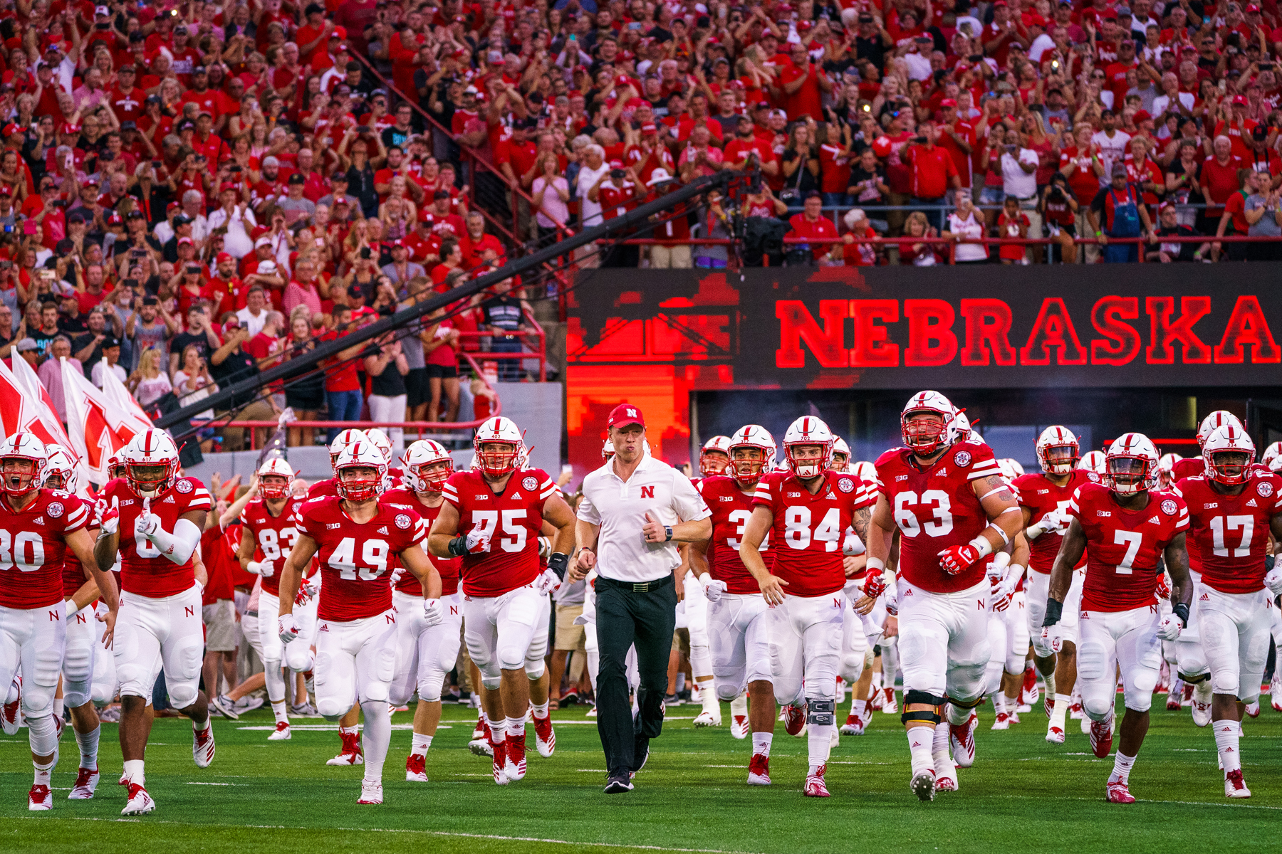 during Nebraska's rained out season-opener against Akron at Memorial Stadium on Sept. 1, 2018. © Aaron Babcock