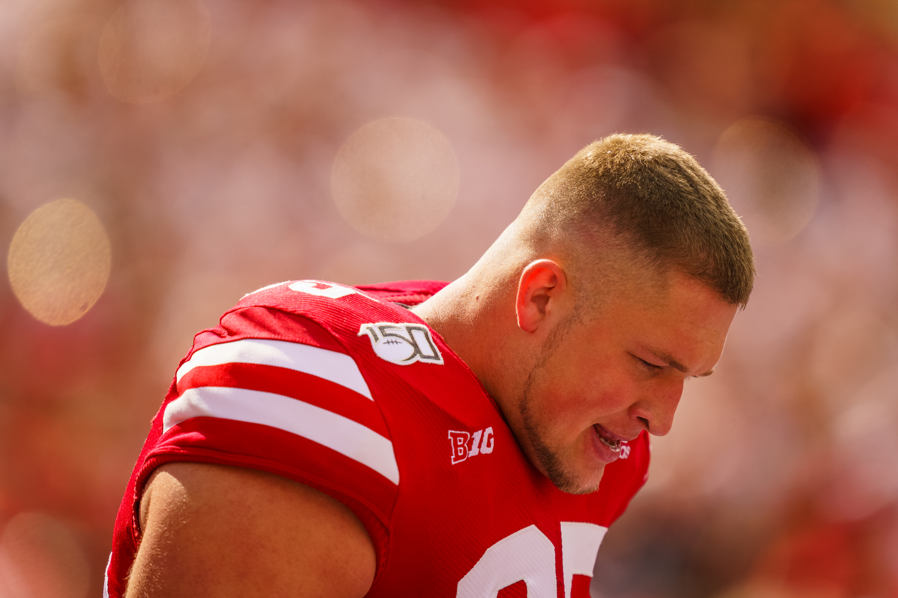 Ben Stille #95 of the Nebraska Cornhuskers during Nebraska's 35-21 win over South Alabama at Memorial Stadium in Lincoln, Nebraska on Aug. 31, 2019.   © Aaron Babcock