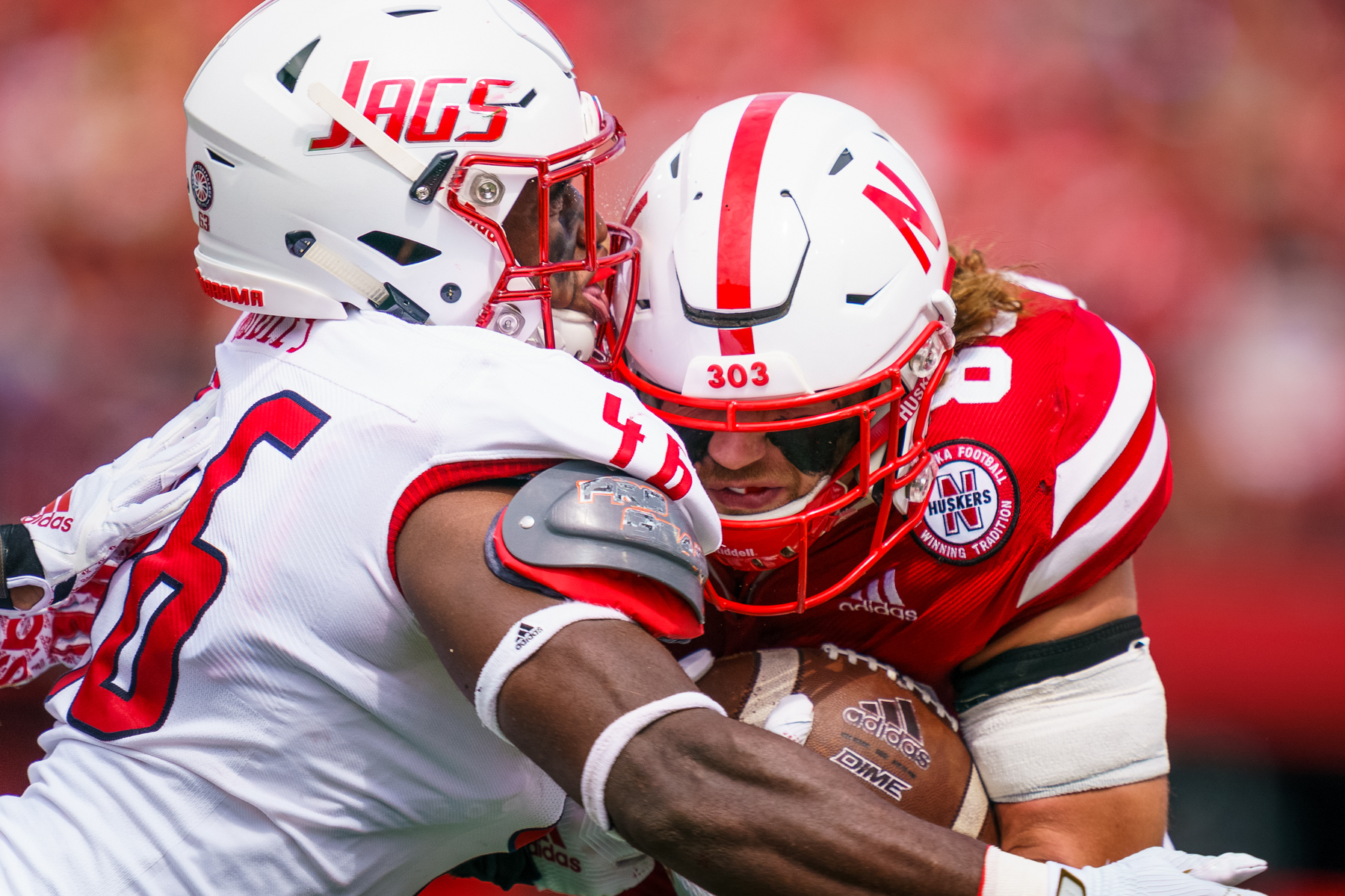 Jack Stoll #86 of the Nebraska Cornhuskers during Nebraska's 35-21 win over South Alabama at Memorial Stadium in Lincoln, Nebraska on Aug. 31, 2019.   © Aaron Babcock