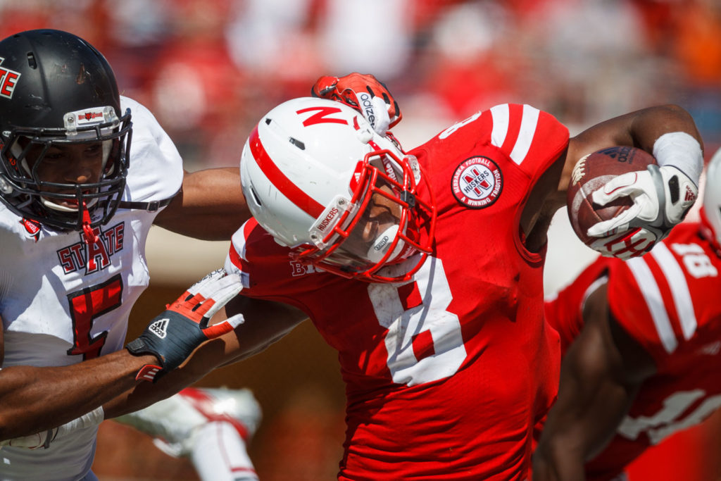 nebraska football player tackled